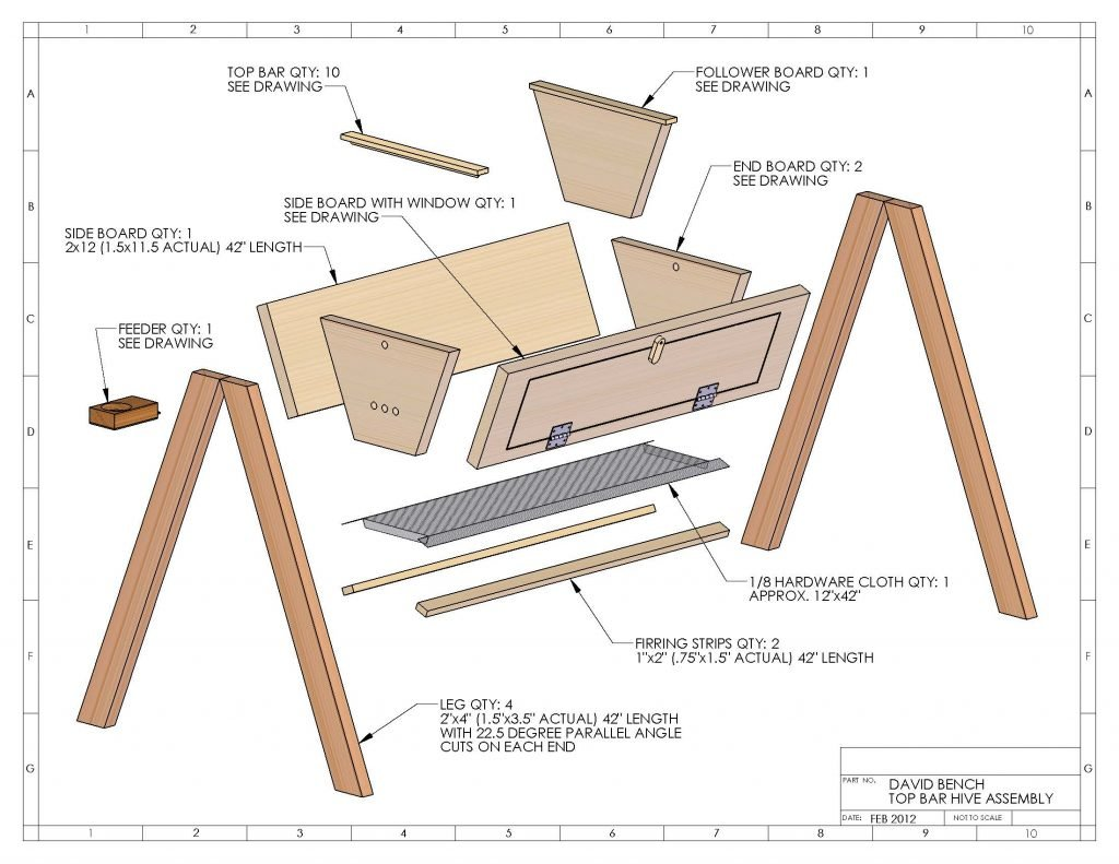 Top Bar Hive exploded view diagram