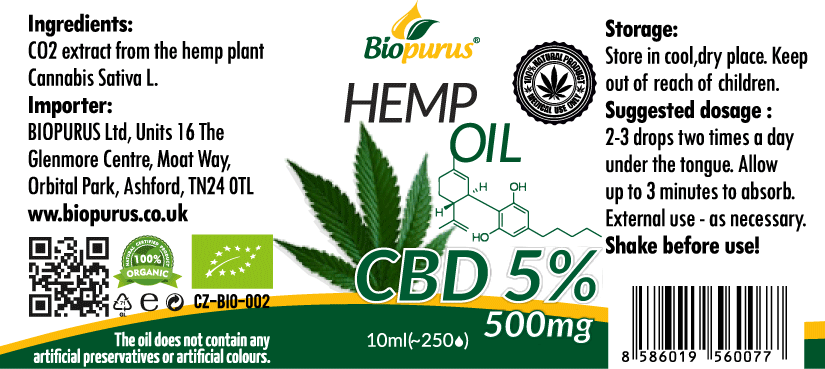 Biopurus UK 500mg 5% CBD Oil from For The Ageless label