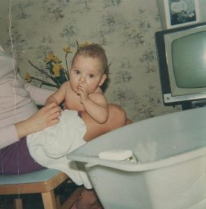 Me in 1967 after having a bath on mums lap