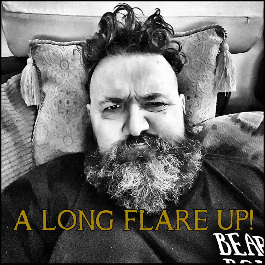 Bearded man in flare up