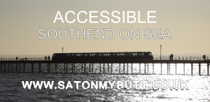 Southend on Sea Pier with text Accessible Southend on Sea