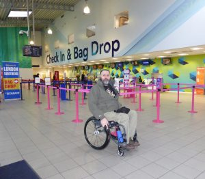 Wheelchair user at London Southend Airport departures